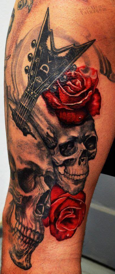 ideas  skull roses tattoo  pinterest tatuagens de caveira na coxa tatuagem de