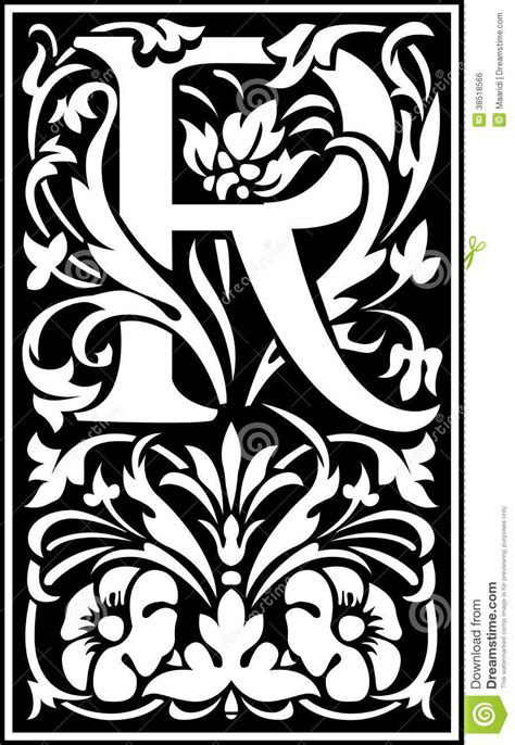 flowers decorative letter  balck  white royalty  stock image image