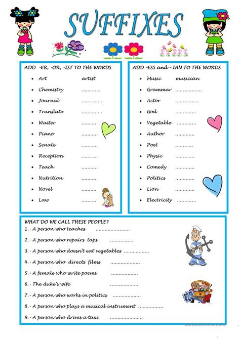 suffixes worksheet free esl printable worksheets made by
