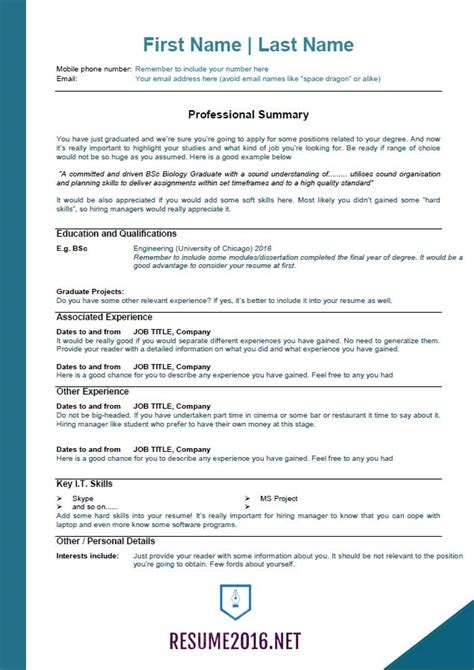 2016 resume templates for those who still unemployed