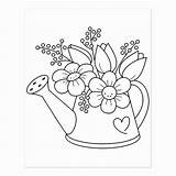 Watering Coloring Flower Garden Flowers Stamp Rubber Zazzle Quadro Quilling Momo Paper Regadera Spring Flores Colorir Embroidery Printable Acessar Patterns sketch template