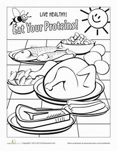 Healthy Eating: Meat and Beans   Worksheet   Education.com
