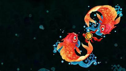 Chinese Background Goldfish Fish Wallpapers Simple Digital