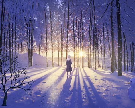 1280x1024 Wallpaper Anime - 1280x1024 anime snow winter forest