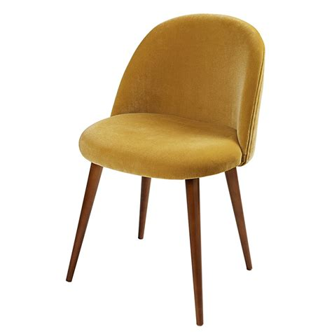 chaise de bureau maison du monde chaise vintage en velours jaune moutarde mauricette