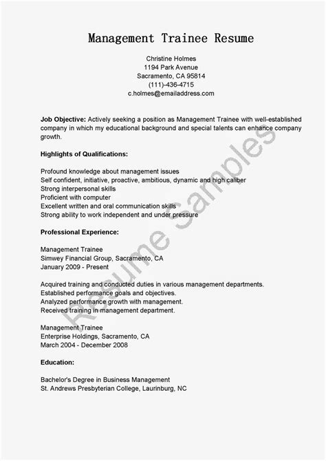Resume Samples: Management Trainee Resume Sample