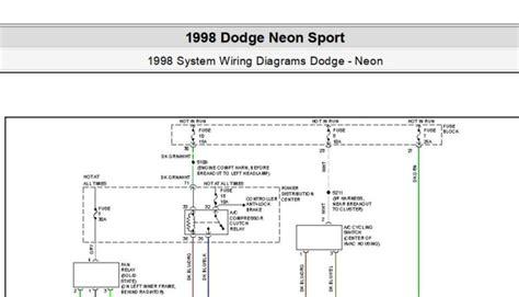 Dodge Neon Headlight Wiring Diagram by Dodge Neon Sport 1998 System Wiring Diagrams Pdf