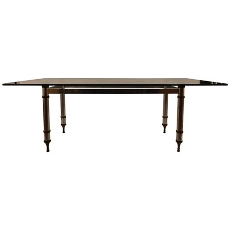 brass dining table base glass top aluminum and brass base dining table for sale at