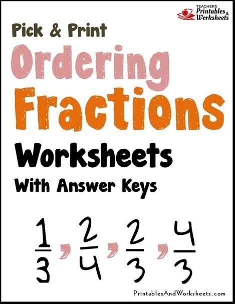 ordering fractions worksheets printables worksheets - Fractions Worksheets Grade 3