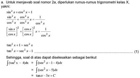 integral tak tentu  fungsi trigonometri materi