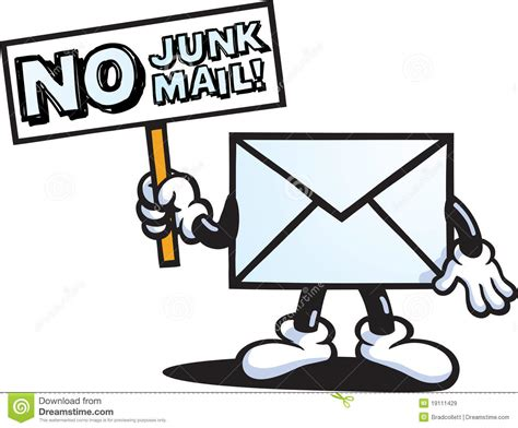No Junk Mail Character Stock Vector. Illustration Of Black