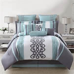 buy kerri 10 piece queen comforter set in teal silver white from bed bath beyond