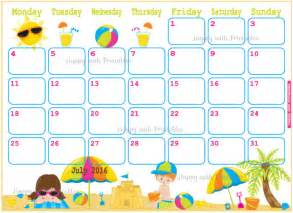 Cute Monthly Printable Calendar July 2017