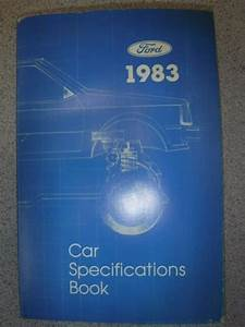 Ford 1983 Car Specifications Book Manual Guide Booklet