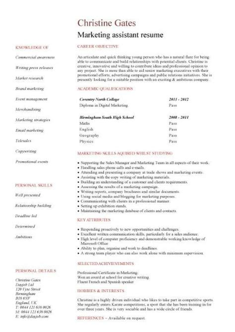 Experience Resume In Marketing by Marketing Assistant Cv Sle
