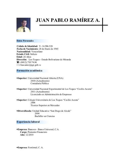 sintesis curricular formato resumen curricular sintesis