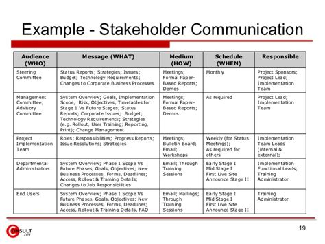 Communication Requirements Analysis Template by Stakeholder Communication