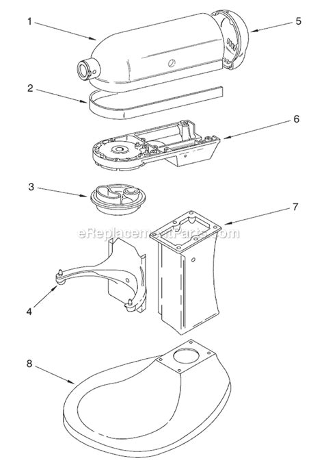 Kitchenaid Mixer Electrical Smell by Kitchenaid 5k5sswh Parts List And Diagram