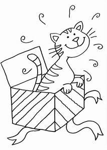 Kostenlose Malvorlage Katzen Katze Im Geschenk Zum Ausmalen