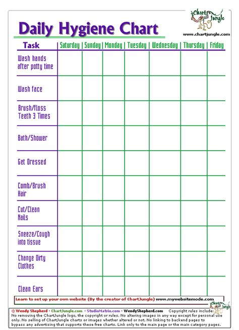 printable hygiene chart  daycare school  home