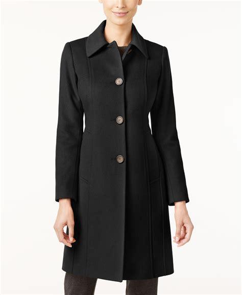 Lyst Anne Klein Petite Wool Blend Walker Coat In Black