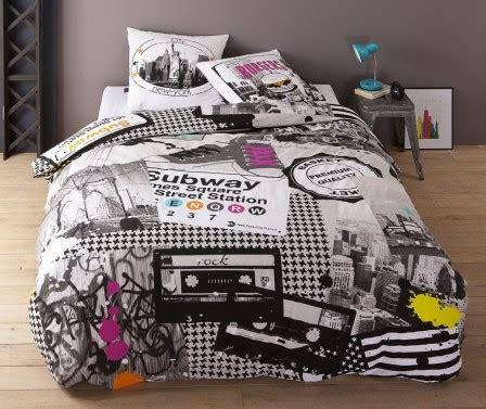 chambre york garcon housse de couette ado adolescent linge de lit housse