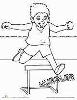 Track Field Coloring Activities Running Worksheet Education Colouring Hurdles Race Sheets Hebrews Worksheets Run Camps Crafts Exercise Fields Physical Putter sketch template