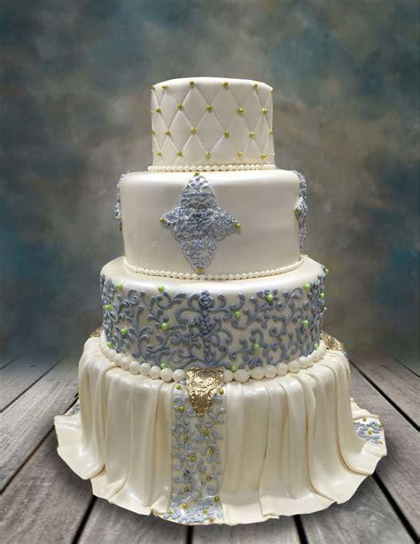 elegantly draped wedding cake cakecentralcom