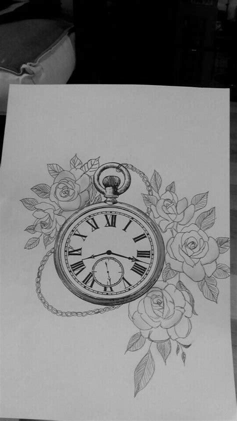 dessin montre a gousset, fleurs,roses | tatouage | Clock