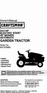 Craftsman 917275221 User Manual Lawn Tractor Manuals And