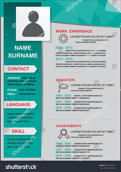 Can You Use Color In A Resume by Resume Cv Template Infographics Background Element Stock Vector 314749241
