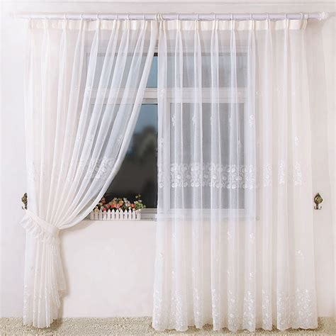 Beautiful Embroidery Yarn Fabric Sheer Bedroom Curtains
