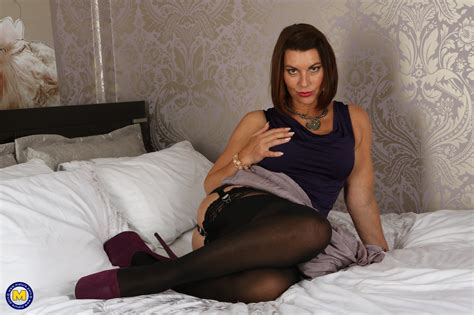 hot british milf christine o playing with herself and