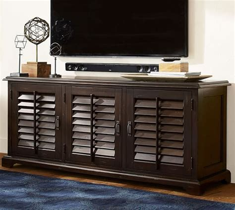 pottery barn media console holstead shutter large media console pottery barn