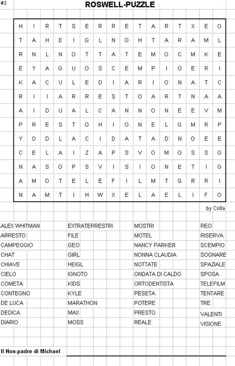 Roswell.it - I giochi: Roswell Crucipuzzle n.3