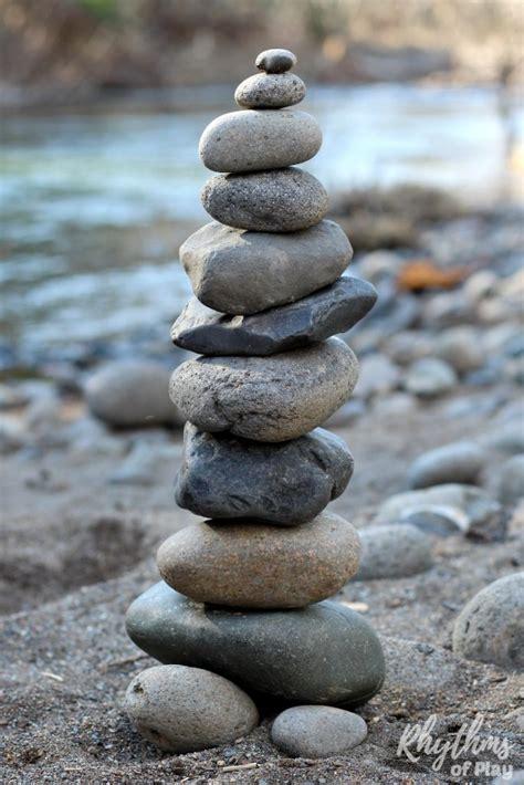 rock balance rock balancing stone stacking art steam activity for kids rhythms of play