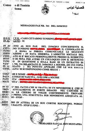 Consolato Tunisino Roma minorenne in carcere a rebibbia quot non mangia e ha tentato