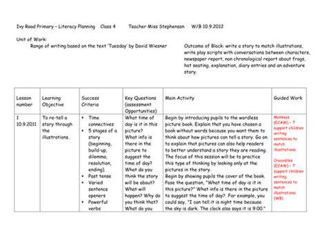 literacy ks unit  work   text tuesday  david wiesner teaching resources