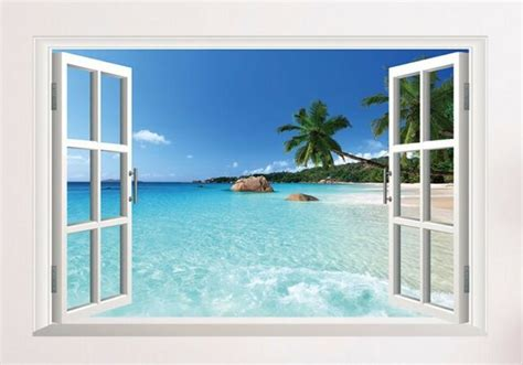 3d Window Ocean View Blue Sea Home Decor Wall Sticker: Large 3d Window Hawaii Beach Palm Tree Ocean View Adhesive