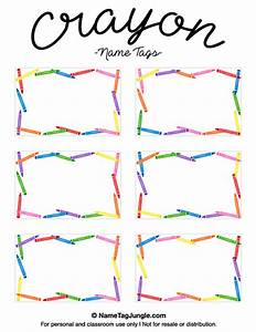 free printable crayon name tags the template can also be With crayon labels template