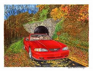 1996 Ford Mustang Gt In Fall Colors Painting by Jack Pumphrey