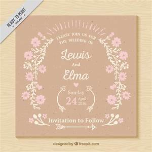 vintage wedding card with delicated flowers vector free With wedding cards photo editor