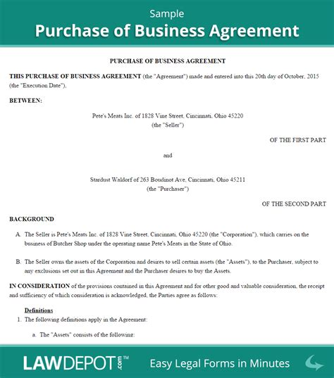 purchase  business agreement template  lawdepot
