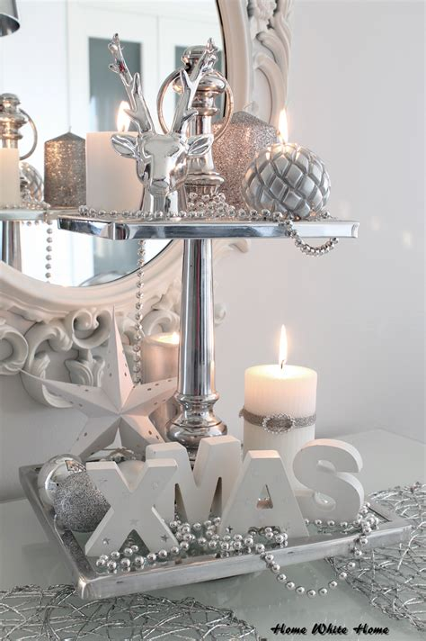 white  silver christmas decoration home white