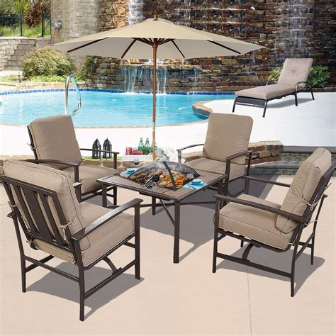 Ghp Outdoor Patio Piece Chair & Bbq Stove Fire Pit Seating
