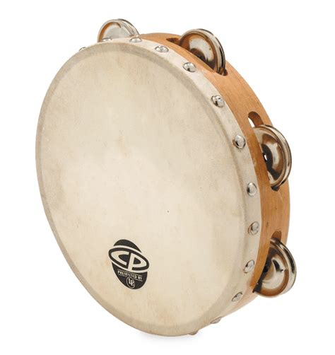 """Classically the term tambourine denotes an instrument with a drumhead, though some variants may not have a head. CP 8"""" Tambourine with Head Single Row   Latin Percussion®"""