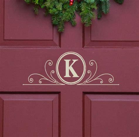 vinyl decal monogram letter  scrolls front door decor mailbox decals  personalized gifts