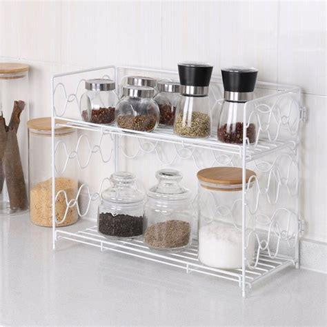 nex  tier spice rack countertop shelf  kitchen spice jars storage organizer wall mounted