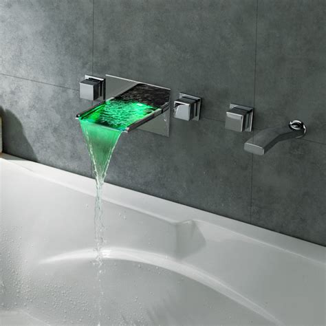 wall mounted led waterfall faucet koko led waterfall wall mount bathtub filler faucet