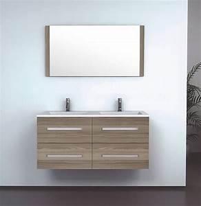 Meuble Double Vasque Suspendu : salle de bain meuble wooden grand meuble salle de bain double vasque suspendu sans colonnes ~ Melissatoandfro.com Idées de Décoration